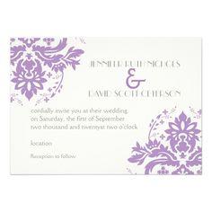 Elegant damask lavender, grey, ivory wedding 5x7 paper invitation card
