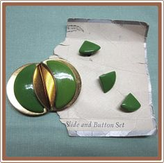 Art Deco Green Plastic Belt Sash Buckle with Matching by COBAYLEY, $22.00