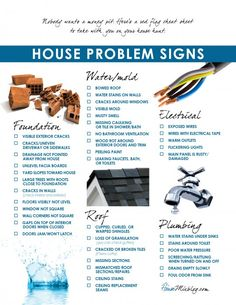 For next house: Problems to look for when buying a house checklist ... #realestate #checklists ... www.usawaterviews.com