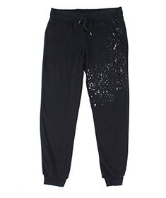3cc2fd8d2bad Socialite Silver Small Junior Bleach-Spatter Jogger Pants Black S