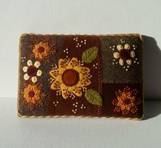 Handmade Felted Wool Autumn Flower Garden Needle Cushion