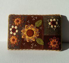 Handmade Felted Wool Autumn Flower Garden Needle Cushion