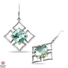 Ebay NissoniJewelry presents - Ladies Silver and Gold Earrings with Green Amethyst    Model Number:E7621-SILY0GAM    http://www.ebay.com/itm/Ladies-Silver-and-Gold-Earrings-with-Green-Amethyst/321612034451