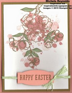 Handmade Easter card using Stampin' Up! products - Indescribable Gift Stamp Set, Gorgeous Grunge Stamp Set, Thick Baker's Twine, and Project Life Cards & Labels Framelits.  By Michele Reynolds, Inspiration Ink, http://inspirationink.typepad.com/inspiration-ink/2015/03/walk-in-wednesday-big-day-and-indescribable-gift.html.  #stampinup #inspirationink #indescribablegift #gorgeousgrunge