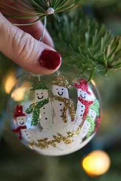 DIY Snowman Handprint Ornaments