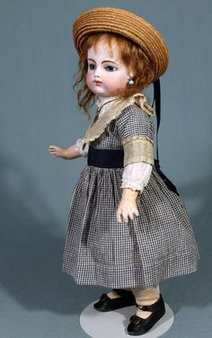Beautiful Block Letter FG French Bebe in Antique Costume