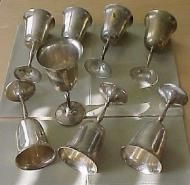 Price $64.00 No combining allowed for this item, must be shipped alone due to size and weight Lot of 8 silver plated wine goblets 7.50 Tall by Leonard...