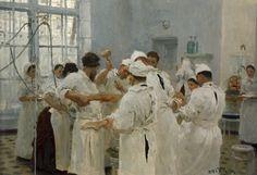 'Chirurg Yevgeni Vasilievich Pavlov in de operatiekamer', 1888 / Ilja Repin (1844-1930) / Tretjakovgalerij, Moskou, Rusland.