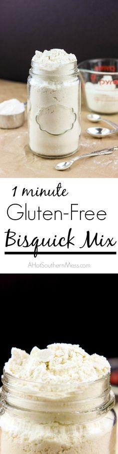 A one minute gluten-free Bisquick Mix type blend that is a perfect option for those pancake biscuit and dumpling recipes that some of us want without artificial ingredients or need to be gluten-free. This version is a little on the naturally sweet side Patisserie Sans Gluten, Dessert Sans Gluten, Gluten Free Desserts, Gluten Free Recipes, Gluten Free Flour Mix, Gluten Free Cooking, Gluten Free Baking Mix, Bisquick Recipes, Gluten Free Bisquick Mix Recipe