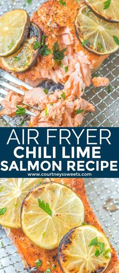 This Air Fryer Salmon recipe is a family favorite! It's full of flavor and a great way to cook chili lime salmon in the Cuisinart Air Fryer Toaster Oven. Salmon In Air Fryer, Air Fryer Recipes Salmon, Air Fryer Oven Recipes, Air Fry Recipes, Healthy Recipes, Sushi Recipes, Healthy Dishes, Healthy Food, Lime Salmon Recipes