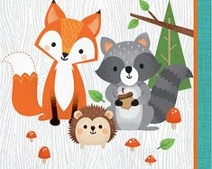 Bring in a joyful twist to your celebrations with these woodland-themed napkins. These napkins displaying woodland animals in a forest set against a colorful t Baby Shower Napkins, Party Napkins, Party Plates, Fox Party, Animal Party, Woodland Theme, Woodland Baby, Woodland Forest, Forest Animals