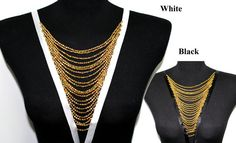 White Necklace Collar with Gold Beads for Shirt, Blouse, Dress Crafts and Sewing on Etsy, 21.44₪