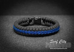 Police Thin Blue Line Stitched Fishtail Paracord Bracelet.