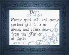 Cross Stitch Devin with a name meaning and a Bible verse