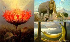 35 Oil Paintings by Artist Vladimir Kush - Surrealism Creativity Mind-Blowing. Read full article: http://webneel.com/webneel/blog/35-oil-paintings-artist-vladimir-kush-surrealism-creativity-mind-blowing   more http://webneel.com/paintings   Follow us www.pinterest.com/webneel