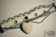 Natasa Malinic / white grey leather bracelet with volcanic lava heart, charming bracelet, retro bracelet, fashion bracelet