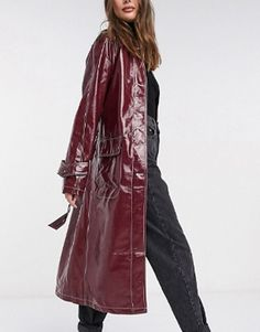 ASOS Design Tall Vinyl Trench Coat With Contrast Stitching in Oxblood Wardrobe Fails, Tailored Coat, Belted Coat, Camel Coat, Fall Trends, White Tees, Who What Wear, Winter Coat, Color Pop