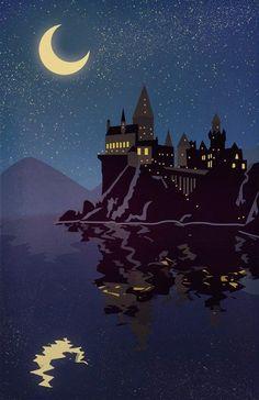 Hogwarts School Of Witchcraft & Wizardry! ♥ Hogwarts School Of Witchcraft Harry Potter Poster, Arte Do Harry Potter, Theme Harry Potter, Harry Potter Fan Art, Harry Potter Universal, Harry Potter World, Harry Potter Castle, Harry Potter Painting, Rowling Harry Potter