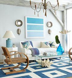 Beach Living Room, Coastal Living Rooms, Home Living Room, Living Room Decor, Beach Room, Cottage Living, Decor Room, Living Furniture, Beach Art