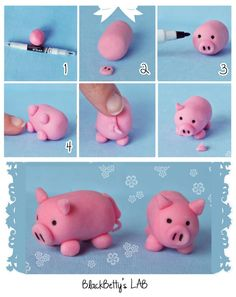 How to DIY Cute Fondant Animals - fimo - Animals Fondant Figures, Fondant Toppers, Fondant Cakes, Fondant Icing, 3d Cakes, Chocolate Fondant, Modeling Chocolate, Mini Cakes, Decors Pate A Sucre