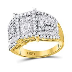 14kt Yellow Gold Princess Diamond Rectangle Cluster Ring for Women 2 Cttw Tiea 3 Carat, Diamond Settings, Cluster Ring, Gold Material, Types Of Metal, Precious Metals, Round Diamonds, Bridal Jewelry, Diamond Jewelry