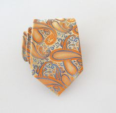 Necktie Orange and Blue Paisley Silk Tie by TieObsessed on Etsy Moroccan Fabric, Wedding Ties, You Are My Sunshine, Neckties, Orange, Yellow, Silk Ties, Paisley, Bows