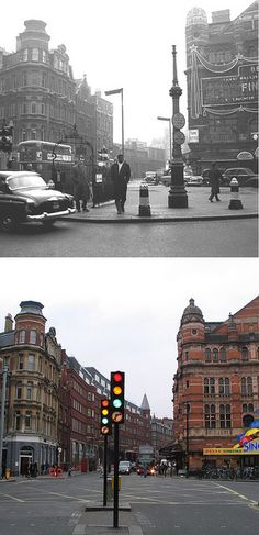 287-Charing Cross Road, Cambridge Circus 1960's and 2012 by Warsaw1948, via Flickr