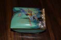 CARLTON WARE ART DECO LIDDED BOX SKETCHING BIRD TURQUOISE