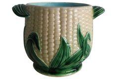 """Majolica  Late 19th C. Corn Cachepot. Probably Clairefontaine but unsigned. France. Turquoise interior.4.5""""H 6.2""""L. Majolicadream"""