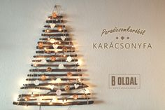 DIY karácsonyfa használt faágakból