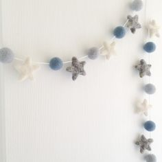 Stone and Co Felt Ball and Star Garland Hanging Decoration Felt Ball Garland, Star Garland, Garland Ideas, Hanging Garland, Garland Nursery, Nursery Decor, Nursery Ideas, Felt Bunting, Felt Baby
