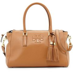 Tory Burch Thea Leather Zip Satchel Bag, Bark