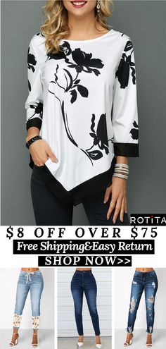 USD 8.00 off over USD 75.00USD 15.00 off over USD 125.00USD 30.00 off over USD 205.00End: 08/19 Code:PARTY2019FREE SHIPPING WORLDWIDE! !Rotita women summer outfits cozy tshirts blouses tops #Rotita #womenfashion #tshirt#summertops#top#blouse#tops Summer Blouses, Summer Tops, Trendy Clothes For Women, T Shirt And Jeans, Summer Outfits Women, Diy Crochet, Plus Size Outfits, Free Shipping, Womens Fashion
