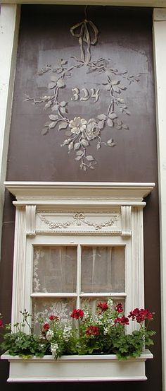 Sweetest Window with house number design...... Wonder if I would like doing this on a 1/2 wall  (dinning room etc.)