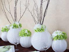 Create a stunning elongated centerpiece using paper lanterns & hydrangeas | Summers End Wedding Tablescape | LinenTablecloth Blog