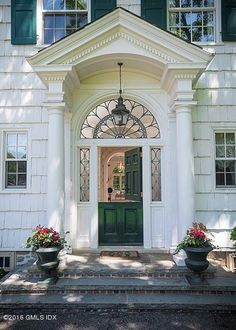 """Stunning entry to 1927 colonial in Greenwich, CT. These 3' long with 12"""" exposure shingles are seen in only SW CT. These actually look 18th century."""