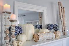 Beautiful Fall / Thanksgiving white pumpkins mantel
