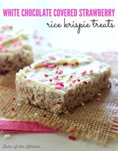 White Chocolate Covered Strawberry Rice Krispie Treats - A fun twist on the classic rice krispie treat made with chocolate strawberry marshmallows, and topped with a creamy layer of white chocolate.
