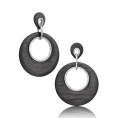 """Adler """"Eclipse"""" earrings made with carbon, white gold and diamonds"""