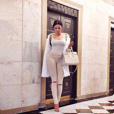 Natalie Halcro (Outfit Details) Manolo Blanik heels , Adriano Goldschmied jeans, American Apparel shirt, Forever 21 jacket Saintlaurent purse