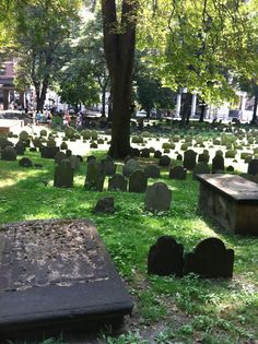 This is the Granary Burying Ground in Boston.  In this small cemetery surrounded by modern buildings are the graves of Paul Revere, Samuel Adams, John Hancock and Crispus Attucks among many other famous people in Boston and Revolutionary history. Paul Revere's grave is right behind where I stood to take the picture.