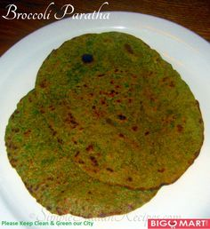 Broccoli Paratha(Broccoli Chappatti) Method 1.Wash the broccoli and cut into florets. 2.Bring some water to boil and add app. 10 florets to it with some salt.3.After 2 minutes remove the florets and grind it into a fine paste with turmeric powder, garam masala and green chillies. 4.In a mixing bowl add wheat flour, all purpose flour, the ground mixture, some minced onions, garlic, carom seeds and salt. 5.Knead it like chapatti with required water. http://goo.gl/vnsusw