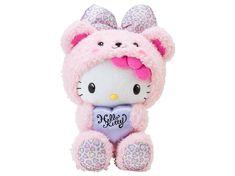 Hello Kitty Plush Doll Bear Heart Leopard Pink SANRIO JAPAN