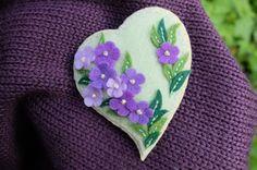 Purple flowers broochFelt HeartLilac flowersFelt by GiftOfFelt