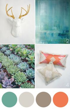Color palette and succulents to add an earthy feel. Via 'Tis So Sweet - #onekingslane #designisneverdone