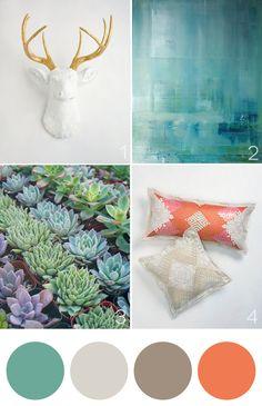 Color palette and succulents to add an earthy feel. Via 'Tis So Sweet - #onekingslane #designisneverdone