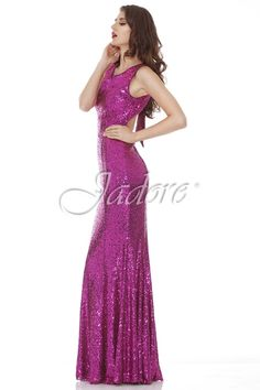 Style #J6032 All Over Sequin gown with Keyhole Back shown in Cerise Available in a Range of Colours. Great for Bridesmaid. Visit jadoreevening.ca to see our full collections or to find a boutique in your area!