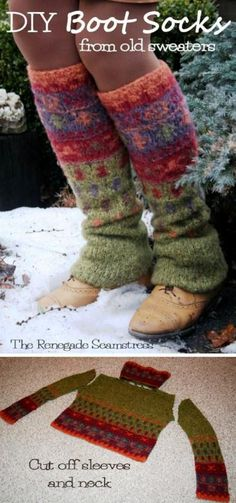 Upcycle a thrift store sweater to cozy warm boot socks with this new sew tutorial by the Renegade Seamstress. She does a lot of cool stuff with thrift store finds Pullover Upcycling, Renegade Seamstress, Alter Pullover, Do It Yourself Fashion, Recycled Sweaters, Vintage Sweaters, Boot Socks, Boot Cuffs, Diy Clothing