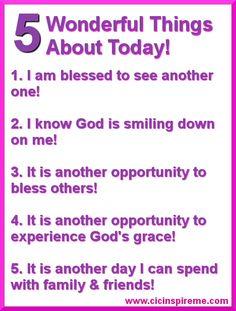 5 Wonderful Things about Today! http://charitsinspirationalcreations.blogspot.com/2013/02/wonderful-wednesday-5-wonderful-things.html #blogpost #countyourblessings #Godisgood