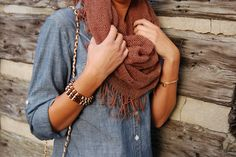 love the @Fringe and Lace scarf with the denim top #jssouthernchic